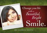 card promoting cosmetic dental services