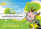 childrens dentist postcard with cartoon giraffe