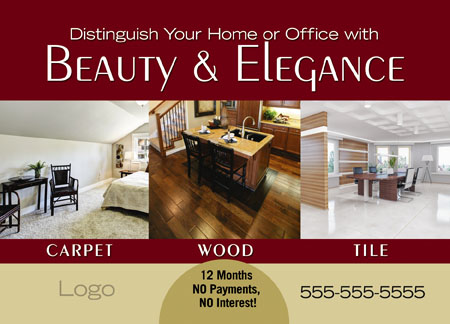 Nice Commercial Flooring Advertising Post Card Example