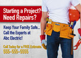 electrical contractor advertising post card example