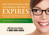 eye prescription marketing postcard