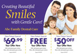 family dentistry card with smiling family and offers