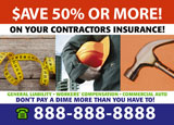 general contractor insurance marketing postcard