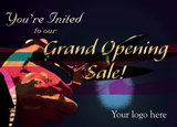 grand opening and business launch advertising post card example