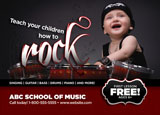 music school postcard design