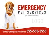 neighborhood emergency pet clinic marketing postcard idea