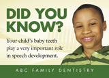 pediatric dental marketing card with young boy