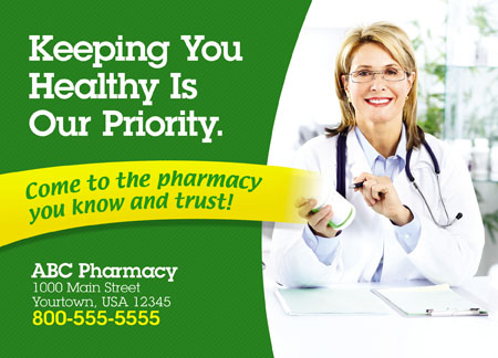 4 Brilliant Pharmacist Direct Mail Postcard Advertising Examples