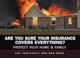 property insurance postcard with home burning