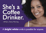 teeth whitening dental postcard series with coffee drinker
