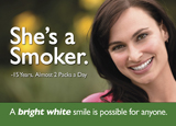 teeth whitening dental postcard series with smoker