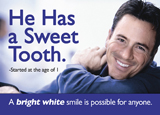 teeth whitening dental postcard series with sweet eater
