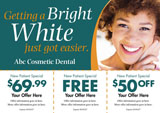teeth whitening postcard with three special offers