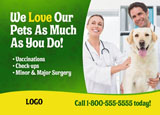 veterinary dog and cat services marketing postcard design