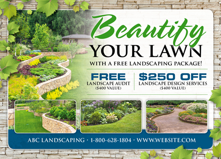 brilliant landscaper/lawn care direct mail postcard advertising, landscape maintenance advertising ideas, landscaping advertising ideas
