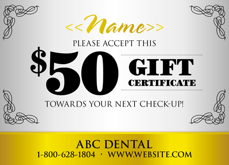18 brilliant personalized postcard design examples for Dental gift certificate template